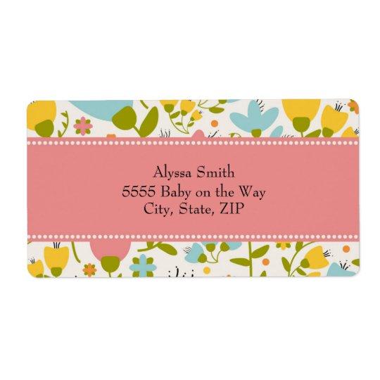Etiqueta Fiesta de bienvenida al bebé floral en colores