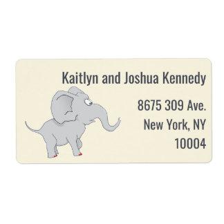 Etiqueta Fiesta de bienvenida al bebé linda del elefante el