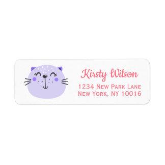 Etiqueta Fiesta de bienvenida al bebé púrpura linda del