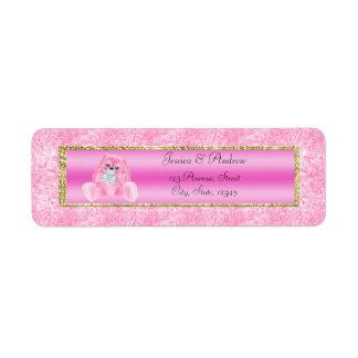 Etiqueta Fiesta de bienvenida al bebé rosada linda del