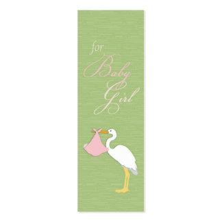 Etiqueta flaca del regalo del chica de la cigüeña tarjeta de visita