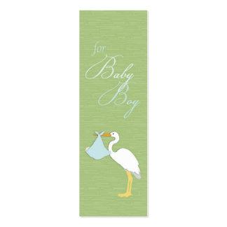 Etiqueta flaca del regalo del muchacho de la cigüe tarjetas de visita