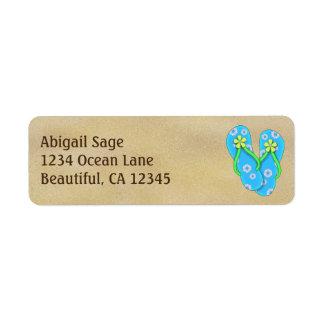 Etiqueta Flips-flopes azules lindos de la flor en la