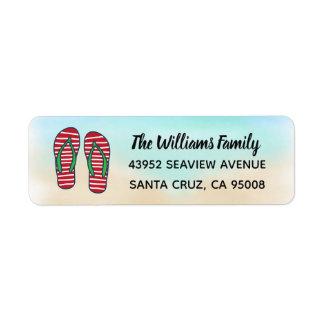 Etiqueta Flips-flopes hawaianos del rojo del navidad de la