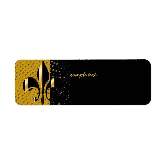 Etiqueta Flor de lis negra del oro
