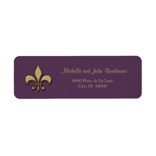 Etiqueta Flor de lis simple de la púrpura del oro de la