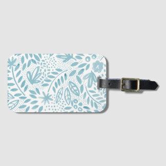 Etiqueta Para Maletas Etiqueta floral azul del equipaje de la belleza