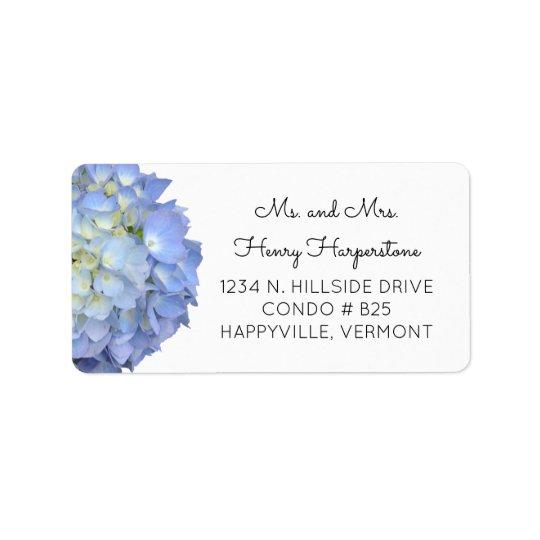 Etiqueta floral azul elegante del texto del negro