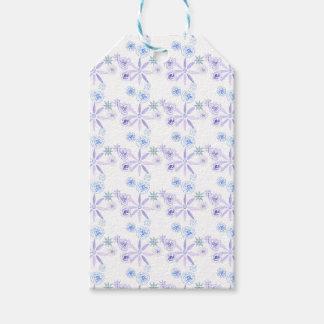 Etiqueta floral azul y púrpura del regalo