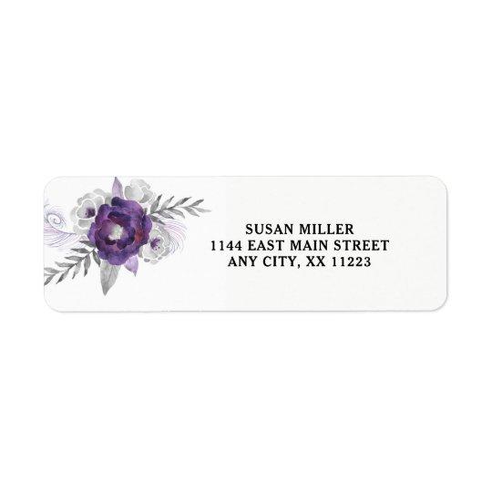 Etiqueta floral de plata púrpura 3963 del remite etiquetas de remite