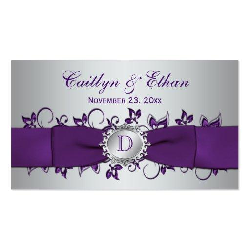 Etiqueta floral de plata púrpura del favor del bod tarjetas de negocios
