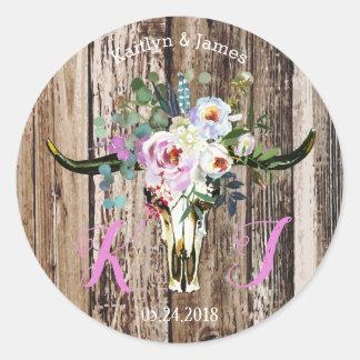 Etiqueta floral del boda del cráneo elegante del