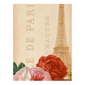 Etiqueta floral del paquete de París del vintage Postal