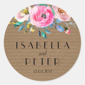 Etiqueta floral del pegatina del boda de Kraft del