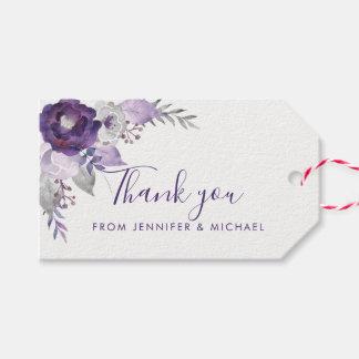 Etiqueta floral del regalo de boda de la acuarela