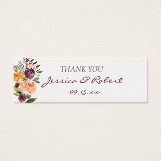 Etiqueta floral del regalo de boda de la puesta