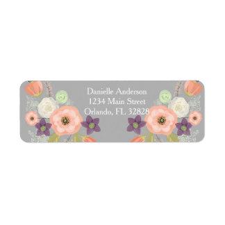 Etiqueta floral del remite de la acuarela gris del etiqueta de remitente