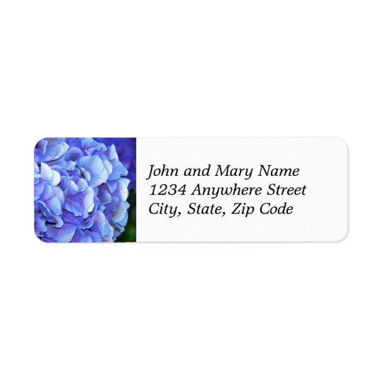 Etiqueta floral del remite de la floración azul