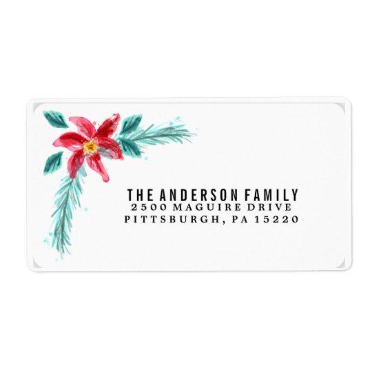 Etiqueta floral del remite del Poinsettia de la Etiquetas De Envío