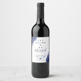 Etiqueta floral del vino del boda del pavo real de
