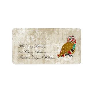 Etiqueta floral del vintage de la lechada de cal etiqueta de dirección