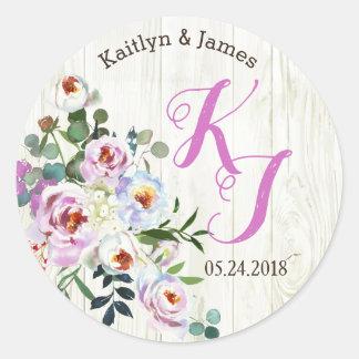 Etiqueta floral elegante rústica del boda de la