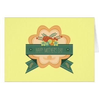 Etiqueta floral feliz del día de madre tarjeta de felicitación