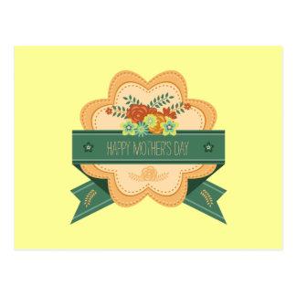 Etiqueta floral feliz del día de madre postal
