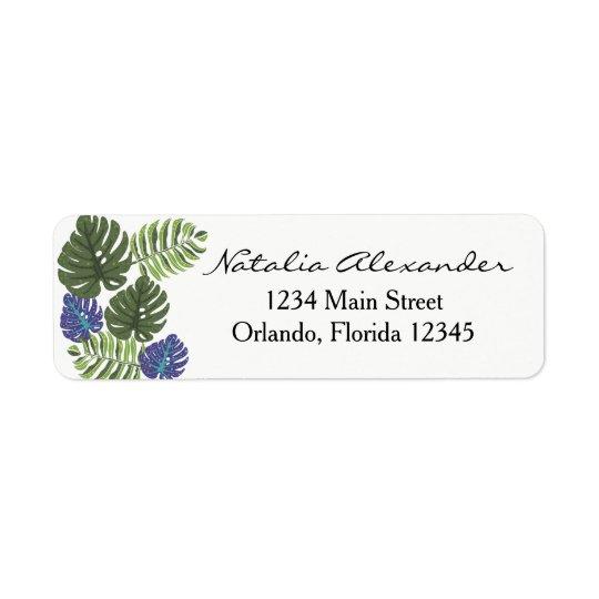 Etiqueta floral moderna tropical del remite etiquetas de remite