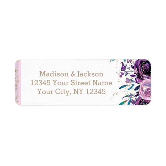 Etiqueta Floral púrpura elegante y oro que casan el remite
