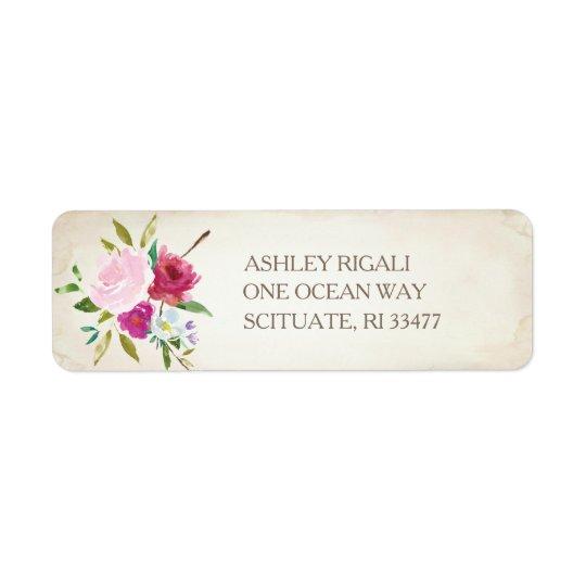 Etiqueta floral rosada del remite del vintage