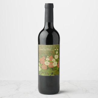 Etiqueta floral rústica del vino