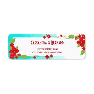 Etiqueta floral y azul roja del remite del boda el