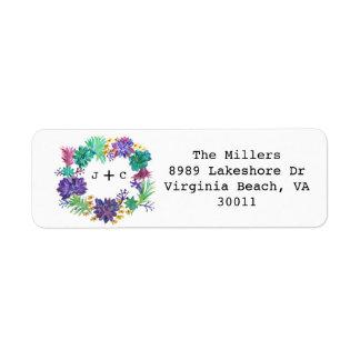 Etiqueta floral y suculenta del remite de la etiquetas de remite