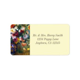 Etiqueta Florero de bella arte de Renoir de los crisantemos
