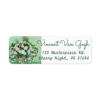 Etiqueta Florero de Van Gogh con la pintura floral de los