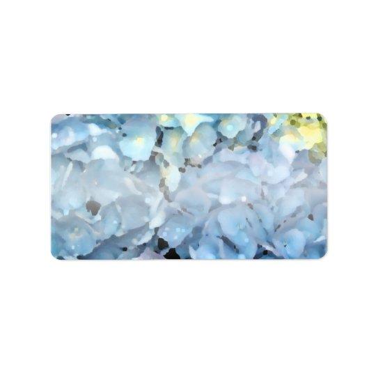 Etiqueta Flores azules del Hydrangea
