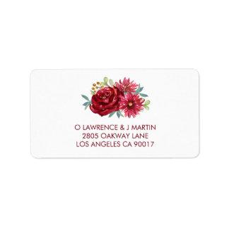 Etiqueta Flores de la acuarela de Borgoña
