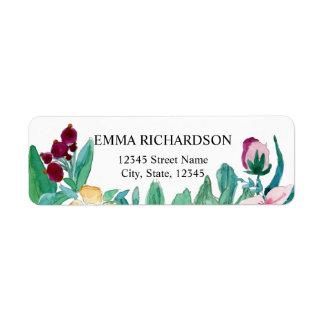 Etiqueta Flores de la pintura de la acuarela