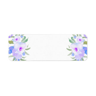 Etiqueta flores de la púrpura de la acuarela