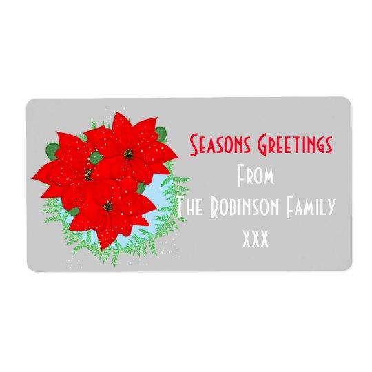 Etiqueta Flores del navidad de los saludos de las