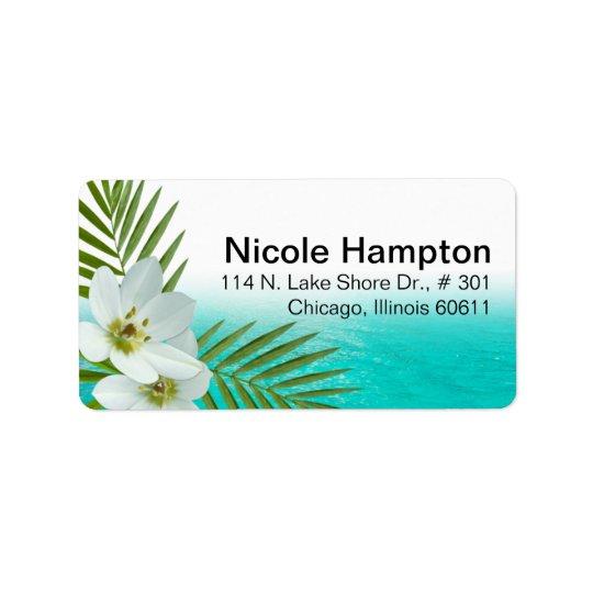 Etiqueta Flores tropicales de la playa de la hawaiana