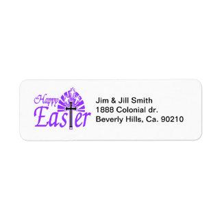 Etiqueta Flores y cruz felices de Pascua