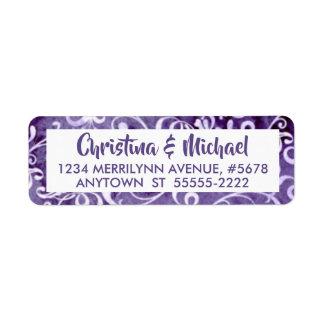 Etiqueta Flourishes púrpuras ultravioletas elegantes de la