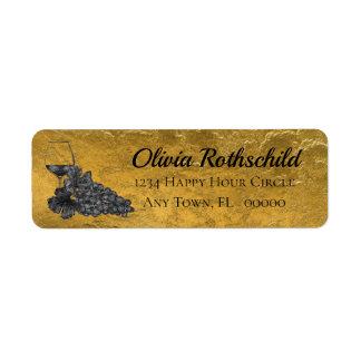 Etiqueta Fondo del oro de las uvas de la copa de vino de la