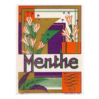 Etiqueta francesa del licor del art déco del postal