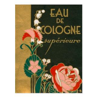 Etiqueta francesa del perfume del art déco del postal