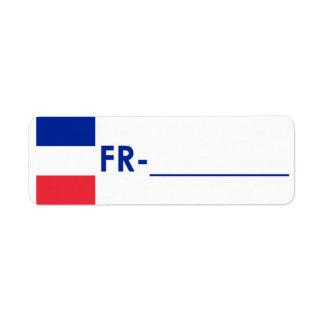 """Etiqueta Francia """"estilo de la identificación de P Etiqueta De Remitente"""