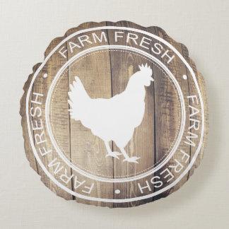 Etiqueta fresca del cortijo de la gallina de la cojín redondo