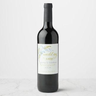 Etiqueta frondosa moderna del vino de las ramas de
